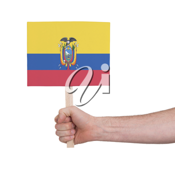 Hand holding small card, isolated on white - Flag of Ecuador