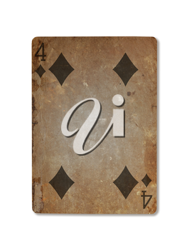 Very old playing card isolated on a white background, four of diamonds