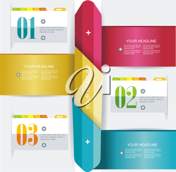 Business Design Template with color ribbon banners. Can be used for step lines, number banners, timeline, diagram, web design.