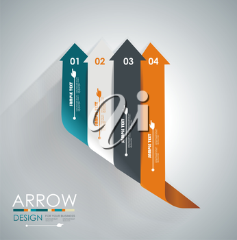 Abstract paper cut arrow background. Can be used for infographics, workflow layout, diagram, number options, business step options, web design.
