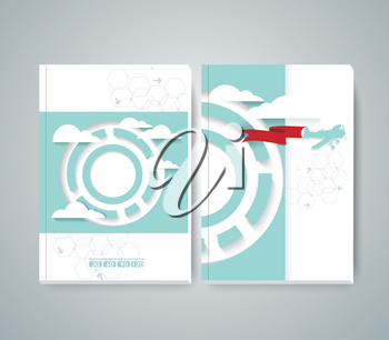 Vector design of Magazine Cover with airplane flying through clouds in the blue sky. Flat design style modern vector illustration.