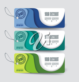 Set of sale labels, paper tags, paper layers design.