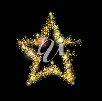 Vector luxury gold star with light dots.