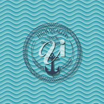 Sea label on blue waves background, vector.