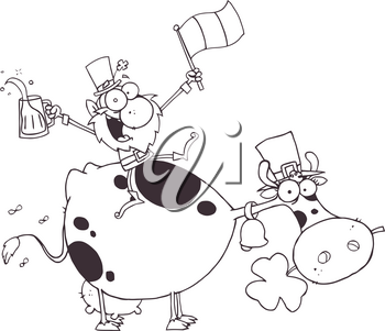 Clipart Illustration of Black and White Irish Man With Beer on the Back of a Cow
