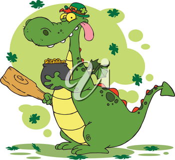 Clipart Illustration of An Irish Dragon With a Pot of Gold