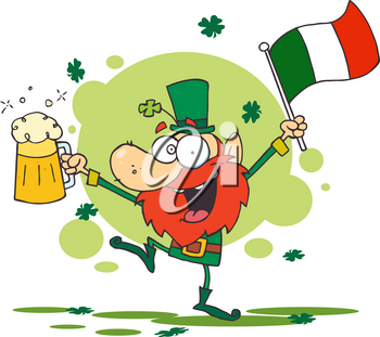 Clipart Image of A Happy Leprechaun With a Pint of Beer and the Irish Flag