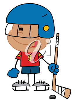 Clipart Image of A Smiling Kid Playing Hockey