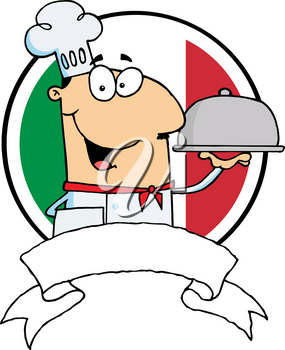 Clipart Image of A Smiling Chef With a Tray In Front of an Italian Flag With a Banner