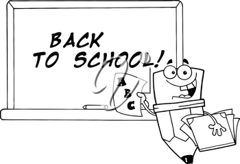 Clipart Image of Black and White Smiling Pencil With ABCs on a Paper