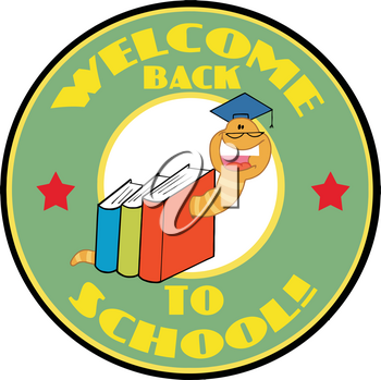 Clipart Image of A Welcome Back To School Bookworm