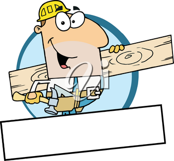 Clipart Illustration of A Smiling Construction Worker With a Plank of Wood
