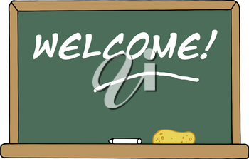 "Clipart Image of ""Welcome!"" Written In Chalk on a Blackboard"