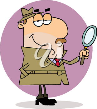 A Purple Circle Behind a Smiling Detective With a Magnifying Glass Clipart Illustration
