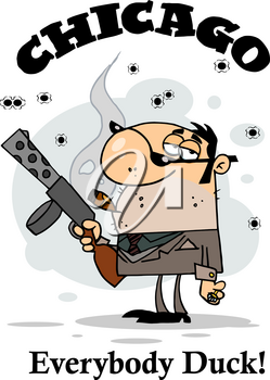 Clipart Image of A Man From the Mob In Chicago With a Cigar and Gun
