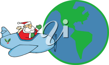 Clipart Illustration of Santa Claus Flying an Airplane Around the World