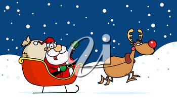 Santa Waving From the Seat of His Sleigh, Being Pulled By Rudolph Through Snow Clipart Image