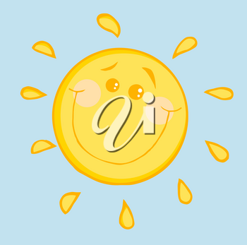 Clipart Image of A Cartoon Sun on a Blue Background