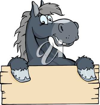 Clipart Image of A Black Horse With a Blank Sign