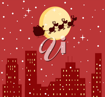 Clipart Image of Santa Flying His Sleigh Over the City
