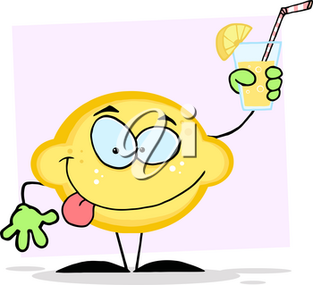 Clipart Image of A Goofy Lemon With a Glass of Juice