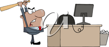 Clipart Image of An African American Businessman Bashing a Computer With a Baseball Bat