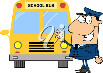 A Smiling Bus Driver Standing Next To His Yellow Bus Clipart Illustration