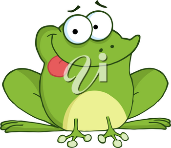 Clipart Image of A Cartoon Frog Sticking Its Tongue Out