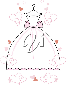 Clip Art Image of a Bridal Shower Graphic of a Wedding Gown