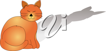Clip Art Image of a Cartoon Orange Cat With His Shadow