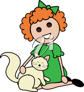 Clip Art Image of a Red Haired Cartoon Girl Sitting With Her Cat