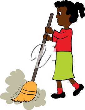 Clip Art Image of a Little African American Girl Sweeping