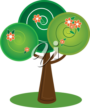Vector Clip Art Illustration of a Pretty and Whimsical Tree with Flowers and Blossoms