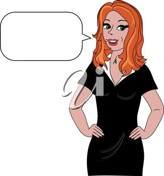 Clip Art Image of a Happy Cartoon Woman With a Conversation Bubble