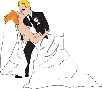 Clip Art Image of a Blond Groom Kissing His Red Haired Bride Passionately