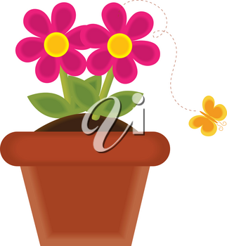 Clip Art Image of a Potted Flower With a Butterfly Flying Away