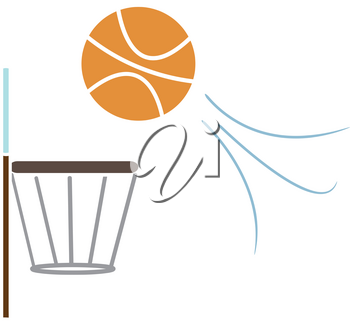 Clip Art Image of a Basketball Dropping Into the Hoop
