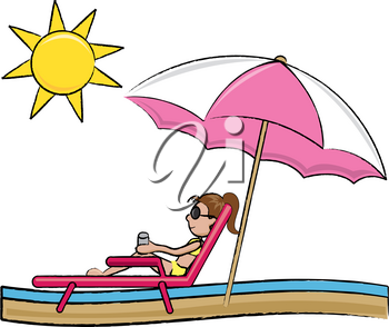 Clip Art Image of a Young Woman in a Lounge Chair on the Beach