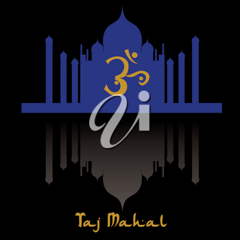 Clip Art Image of a Silhouette of the Taj Mahal in India With Reflecion Pool