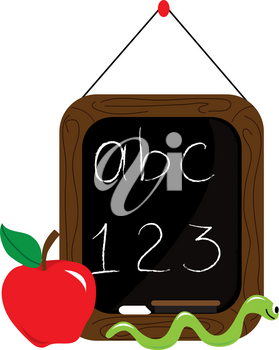 Clip Art Image of a Little Chalkboard With an Apple and a Worm