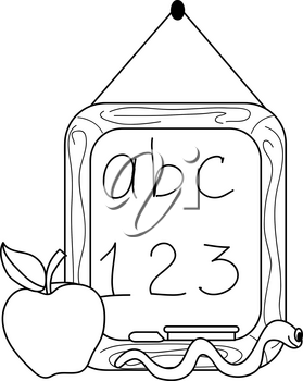 Clip Art Image of a Chalkboard With an Apple and a Worm Coloring Page