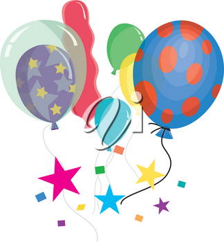 Clip Art Illustration of Helium Party Balloons