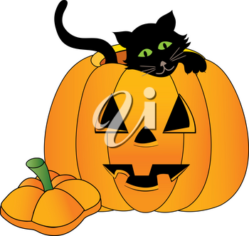 Clip Art Image of a Black Kitten Inside a Halloween Pumpkin