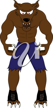 Clip Art Image of a Cartoon Werewolf Snarling With His Fangs Showing