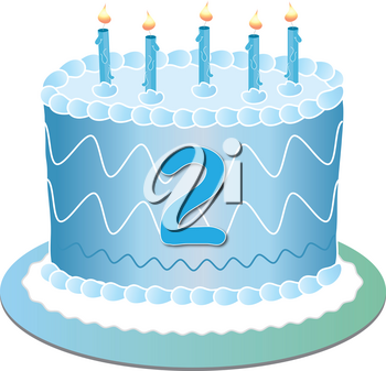 Clip Art Image of a Blue Birthday Cake With the Number 2