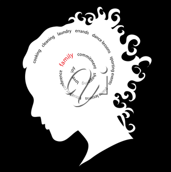 Clip Art Illustration of the Silhouette of a Woman's Head With Thoughts of Family