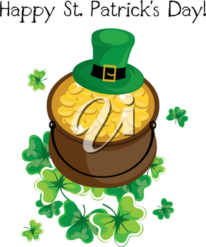 Clip Art Illustration of a Pot of Gold With Shamrocks
