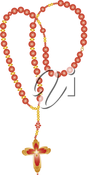 Clip Art Illustration of Red Rosary Beads