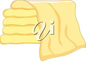 Clip Art Illustration of a Stack of Buttery Yellow Towels