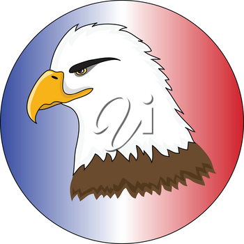 Clip Art Illustration of a Bald Eagle on a Red, White and Blue Background